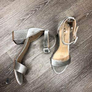 Chinese Laundry Pale Green Velvet Heeled Sandals